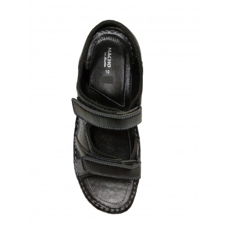 Bata Black Macho Leather sandals for Men