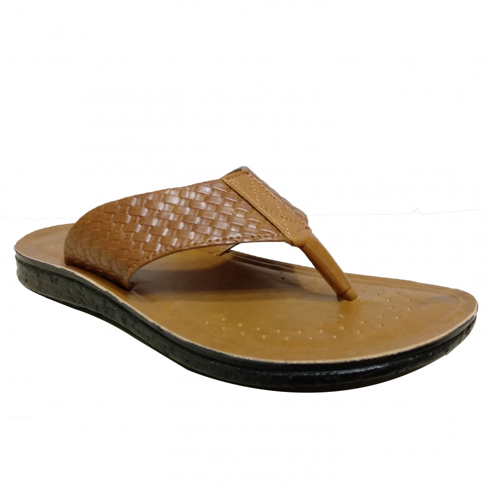 Bata Macho Tan Leather Slipper For Men
