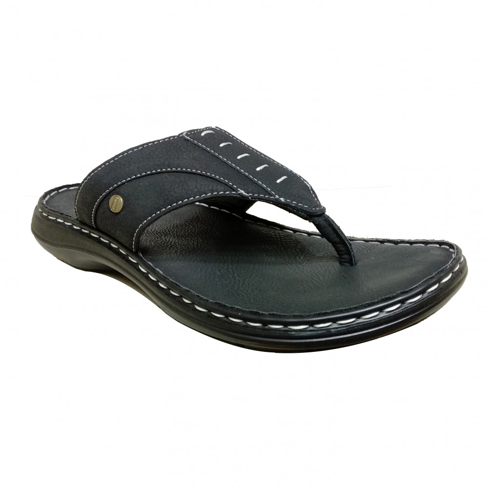BATA Men's Macho Cushion Black Hawaii Thong Chappals