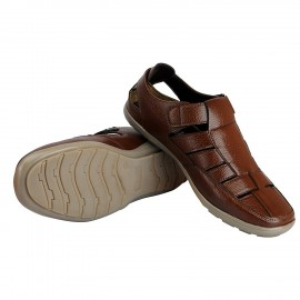 Bata Men's Brown Outdoor Leather Sandals