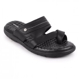 Bata GenuineLeather Black Slipper for Men