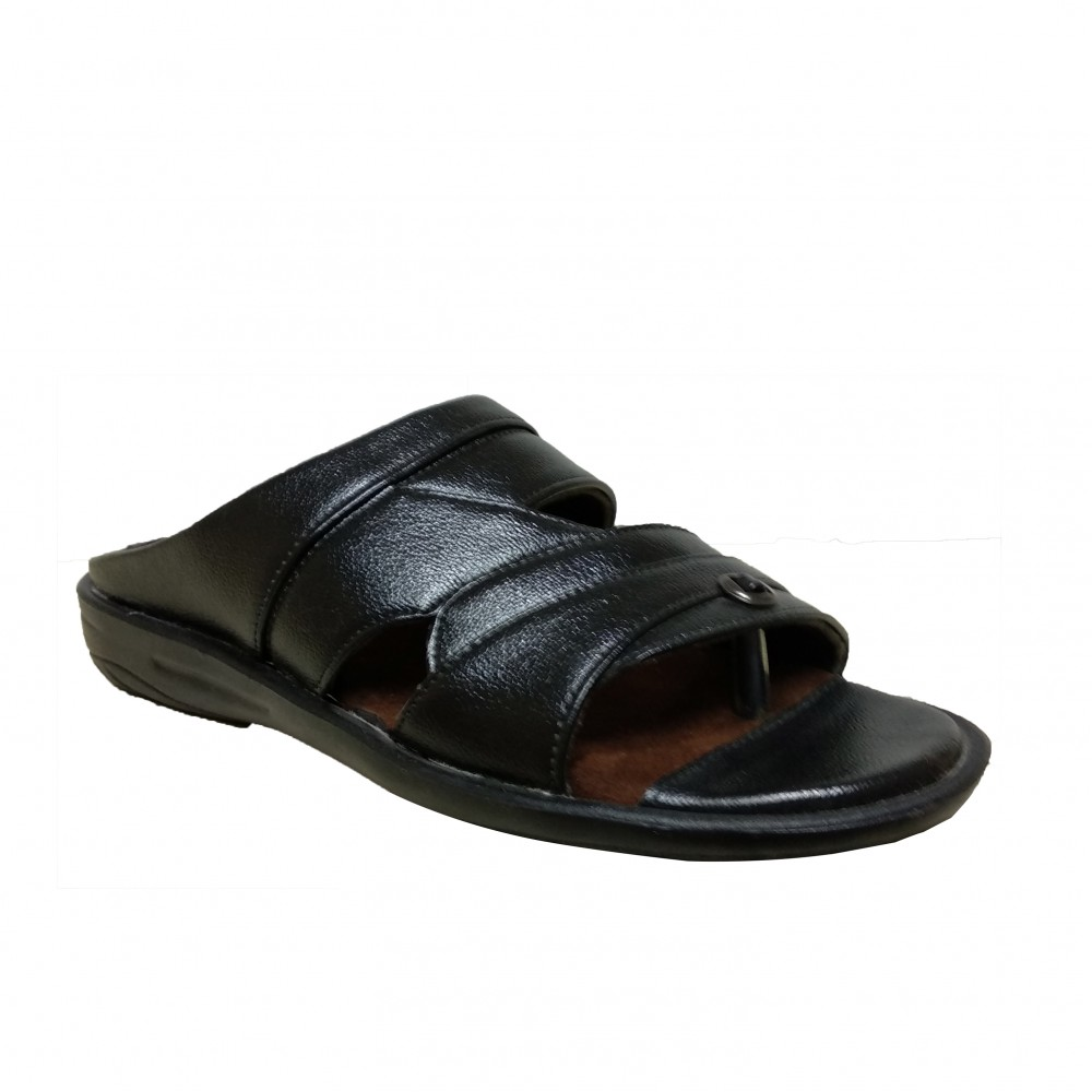 Eagle Black Leather Chappal for Men