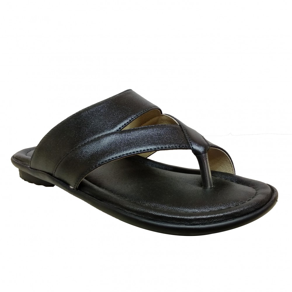 Eagle Black Leather Office Chappals