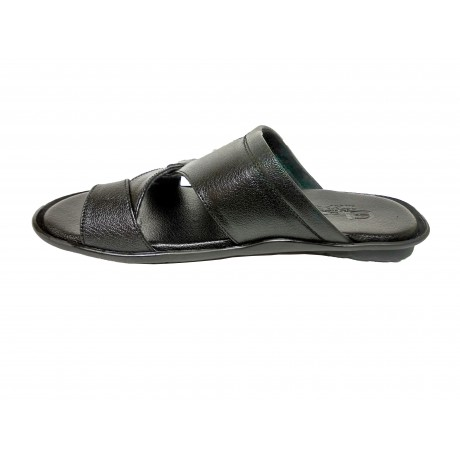 Elentra Leather Black chappals for Men
