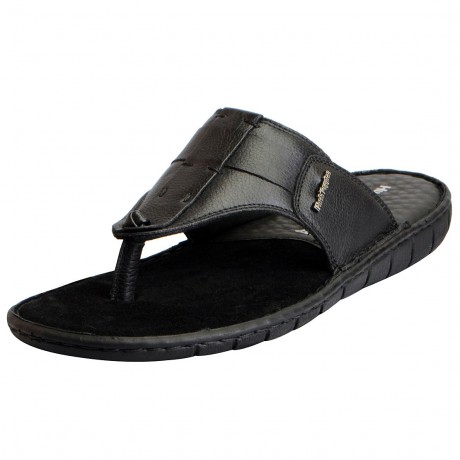 Hush Puppies Black Leather Slippers Men