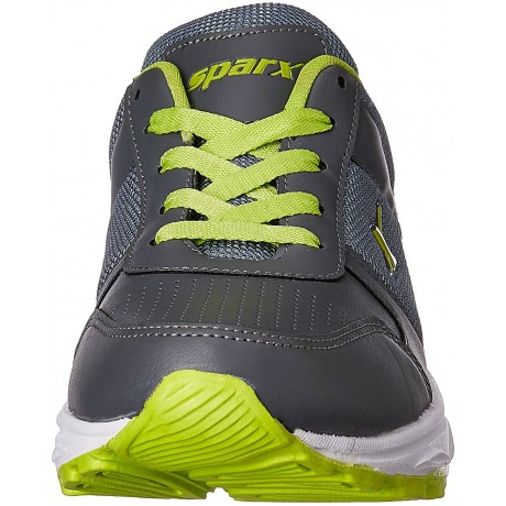 Sparx Men's Dark Grey and Fluorescent Green Running Shoes