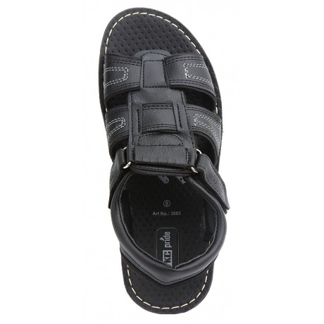 VKC Men's Black Synthetic Leather Sandals
